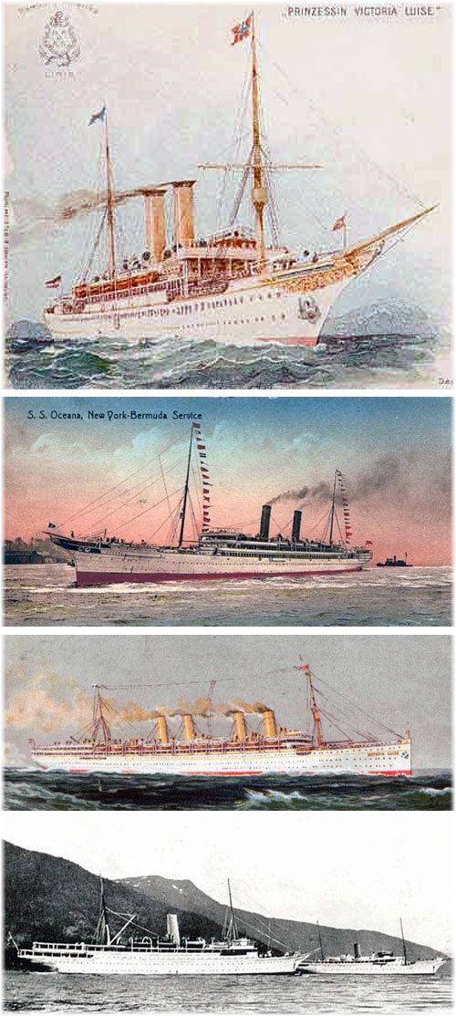 From the top: Prinzessin Victoria Luise, Oceana, Victoria Luise, Meteor and Stella Polaris