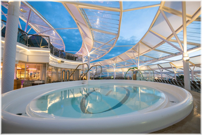 Harmony of the Seas has an array of five shelters protecting her Solarium