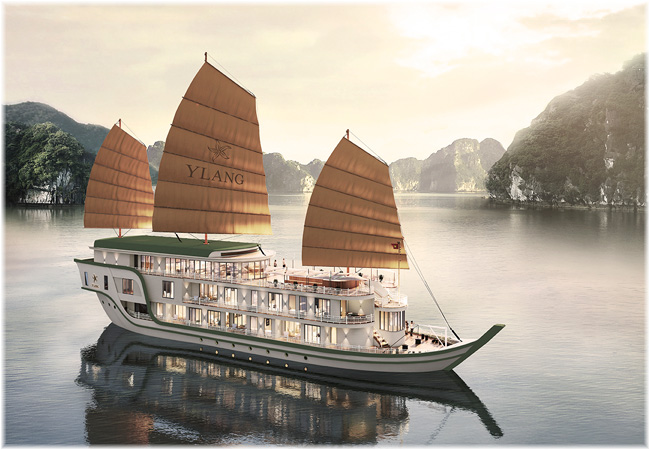 Heritage Line launches a new luxury vessel Ylang plying Lan Ha Bay, in North Vietnam (Artist impression)