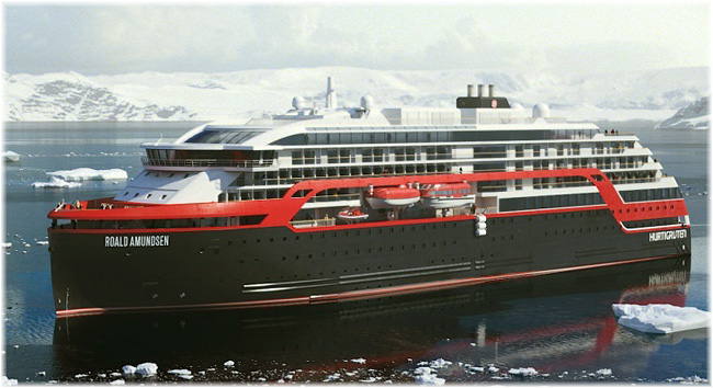 The Roald Amundsen will be equipped with a wave piercing bow surmounted by a covered observation area forward (Artist impression courtesy Kleven)