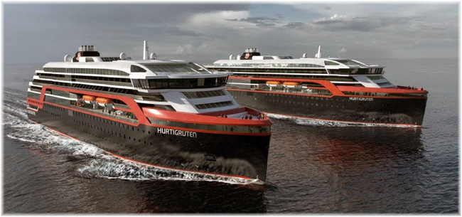 The two new ships for Hurtigruten (Artist impression courtesy Kleven Werft)