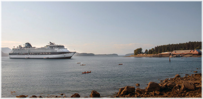 Celebrity Infinity at Icy Strait Point, Alaska
