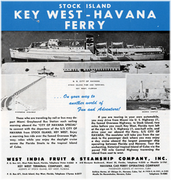 Until 1962, a regular ferry service ran betwen Key West, Florida, and Havana (Courtesy Wolfsonian Institution)