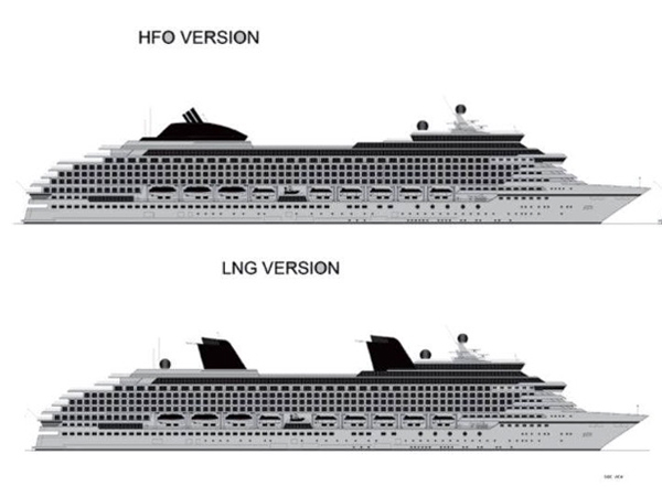 The Knud E Hansen's comparison between a Heavy Fuel Oil (HFO) version and a clean variant fueled by Liquefied Natural Gas (LNG)