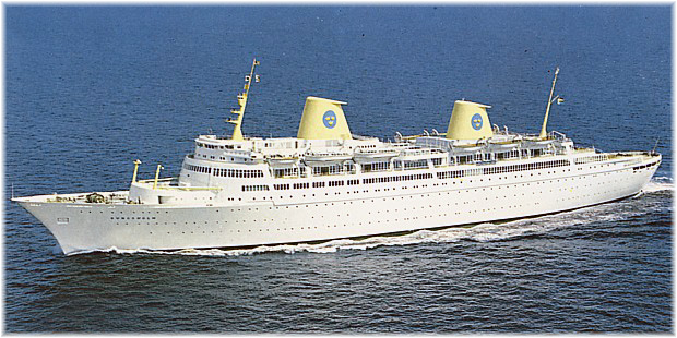 The 26,678-ton 713-berth Kungsholm, was probably the most beautiful ocean liner ever built