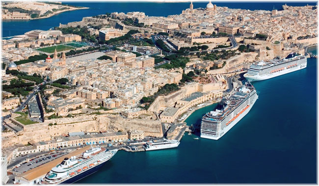 La Valletta, Malta. Prinsendam, MSC Splendida and MSC Musica (Image by Custom Aerial Photos)