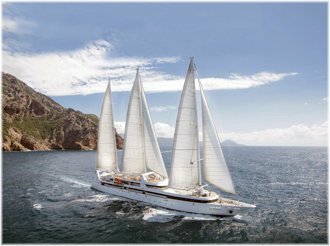 The sailing yacht Le Ponant (Ponant Cruises)