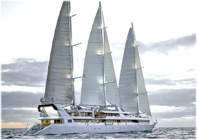 Sailing yacht Le Ponant testing the Chantiers de l'Atlantique's Solid Sail (Ponant Cruises)