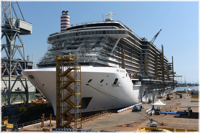 Trieste, Italy, 23 August 2017: MSC Cruises And Fincantieri Celebrate Float Out Of MSC Seaview (Click to enlarge)