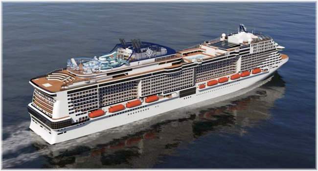 The MSC Meraviglia (Artist impression courtesy MSC Cruises)