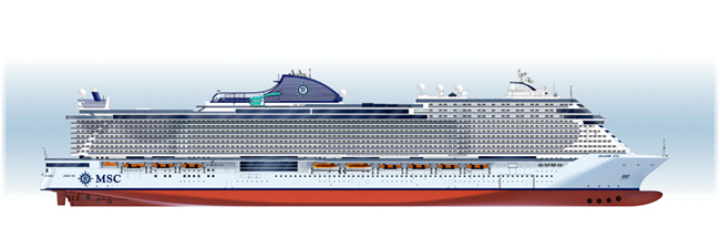 Lateral view of the new MSC Seaside Evo