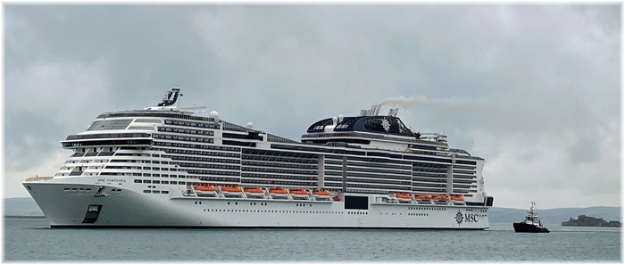 MSC Virtuosa in Portland Port on the 22nd of May 2021 (Portland Port)