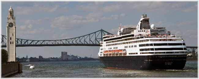 An Holland America Line's ship leaving Montreal