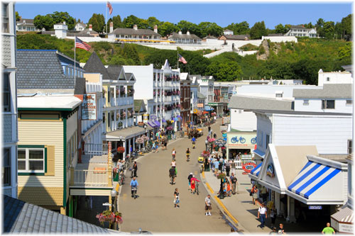 Mackinac Island, at the junction of Lakes Michigan and Huron, is famed for being an island where no cars are allowed and transport is by horse-drawn carriage and bicycle