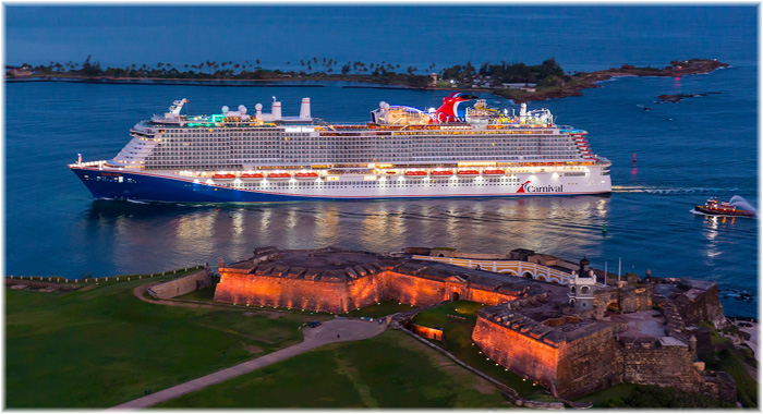 Carnival Cruise Line's new Mardi Gras at San Juan, Puerto Rico (August  2021, courtesy of Carnival Cruise Line)
