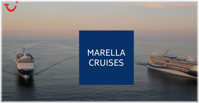 Coinciding with Thomson's transition to TUI later this month, Thomson Cruises will take on a new name of its own, Marella Cruises. Marella will still feature the TUI smile, as well as a new Marella Cruises logo. (Click to enlarge)