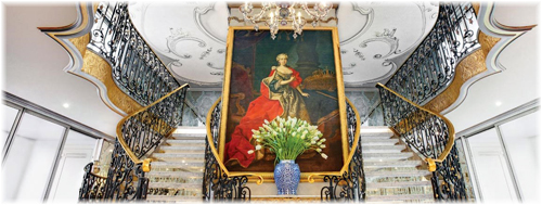 S.S. Maria Theresa. The ship's lobby is dominated by a 10-foot oil painting of Maria Theresa