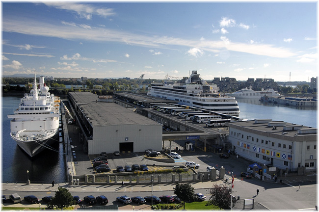 Montreal's existing cruise terminal with Mackay Pier opposite