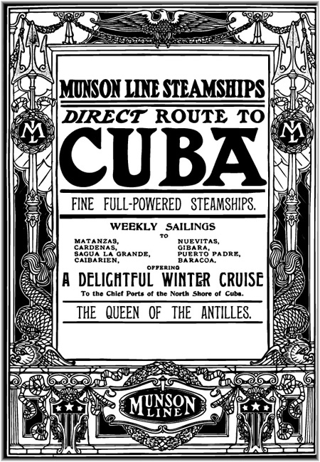 Cuba was was served regularly by Munson Lines from New York