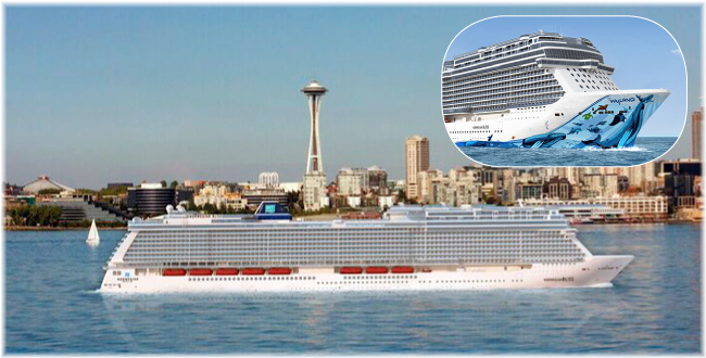 The Norwegian Bliss at Seattle (Artist impression courtesy NCL) (Click to enlarge)