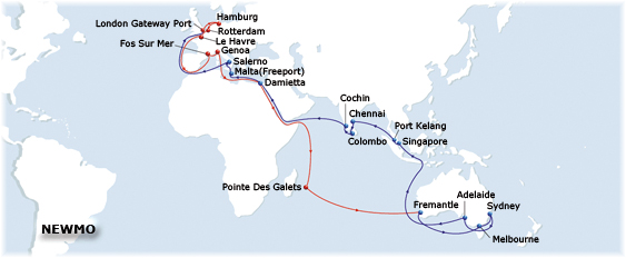 The North Europe Mediterranean Oceania Express (Nemo) service