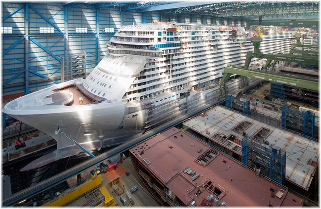 Norwegian Bliss at Meyer Werft, Papenburg (Click to enlarge)