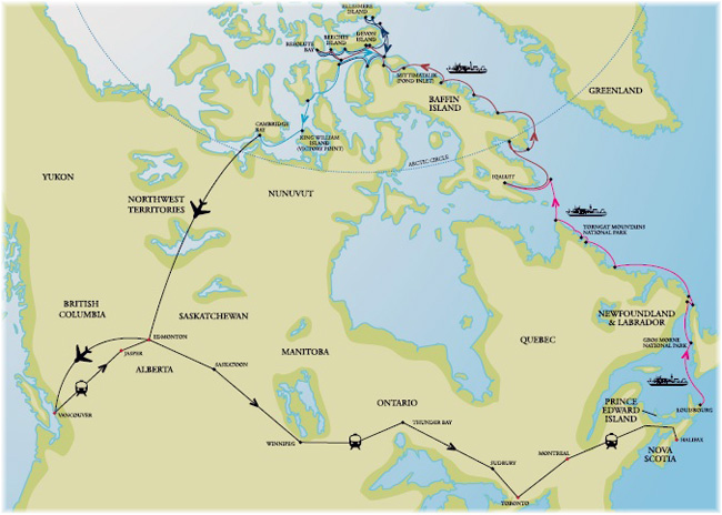 Starting and ending in Nova Scotia, One Ocean Expeditions' Circumnavigation of Canada (Click to enlarge)