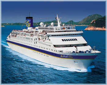 The Pacific Star, ex Costa Tropicale, ex Carnival Tropicale, currently sailing as Peace Boat's Ocean Dream