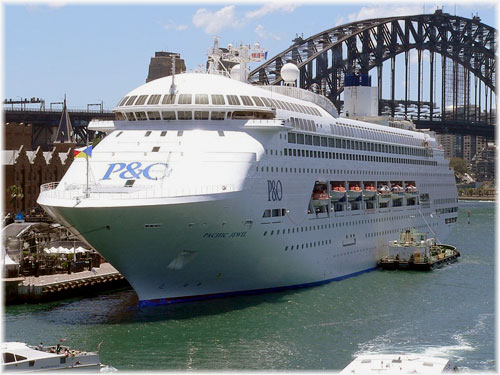 Pacific Jewel, in this image moored at Sydney