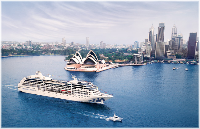 The Pacific Princess at Sydney (Photo courtesy Princess Cruises)