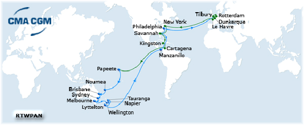 The CMA CGM's Pacific Australia Direct route