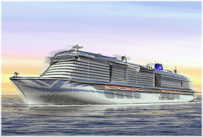 P&O Cruises ordered a second 5,200-berth LNG-fuelled mega cruise ship for the UK market (Artist impression courtesy Carnival Corp.)