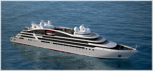 Rendering of the new cruise ships, due for delivery in 2022,  Fincantieri Vard will build for Paul Gauguin Cruises