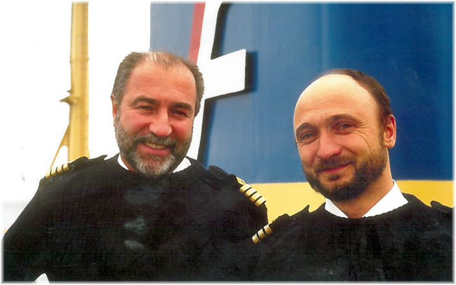 At left Polar explorer and veteran icebreaker captain, Petr Golikov and First Officer Andrey Gostnikov