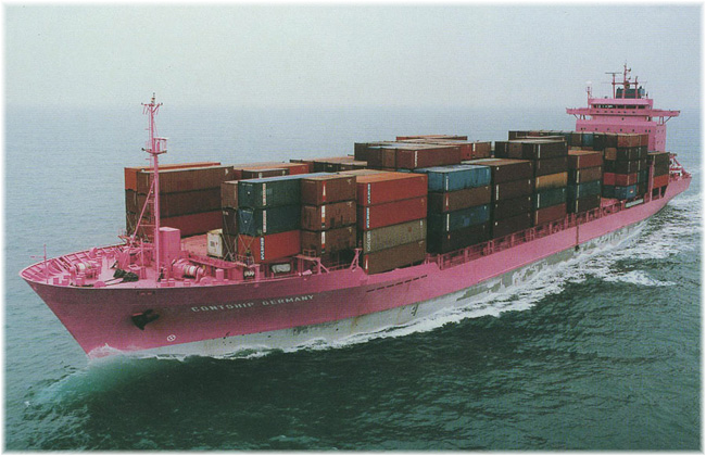 From 1992 until the early 2000s Contship Lines ran a 7 passenger pink containership called the Contship Germany between Europe and Australia