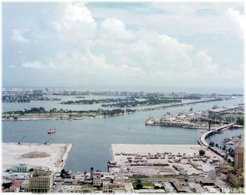 Port of Miami 1975: bottom left former cruise docks being converted into parkland, new Dodge Island cruise docks, right