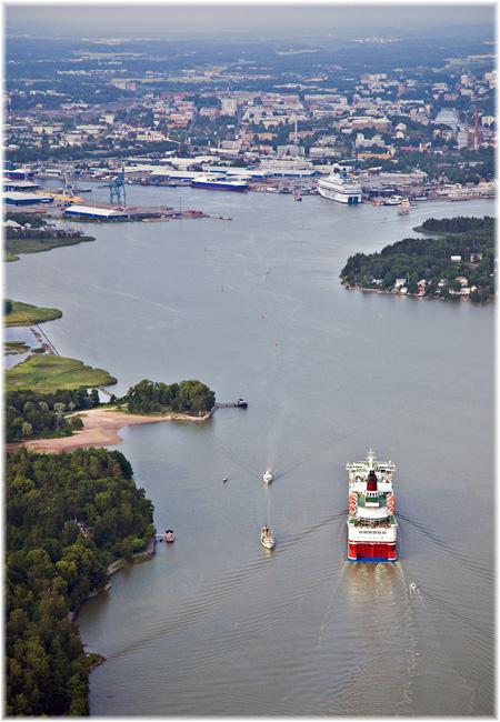 Approaching the port from Turku Archipelago sea (Courtesy Port of Turku)