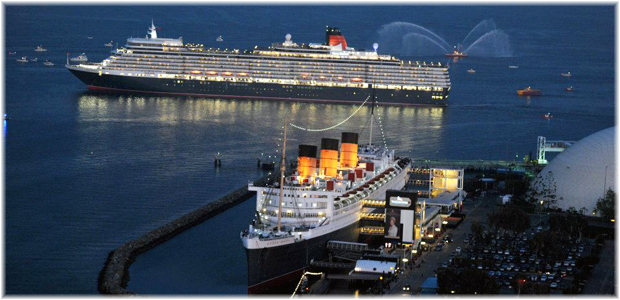 Queen Elizabeth with Queen Mary at Long Beach in 2013