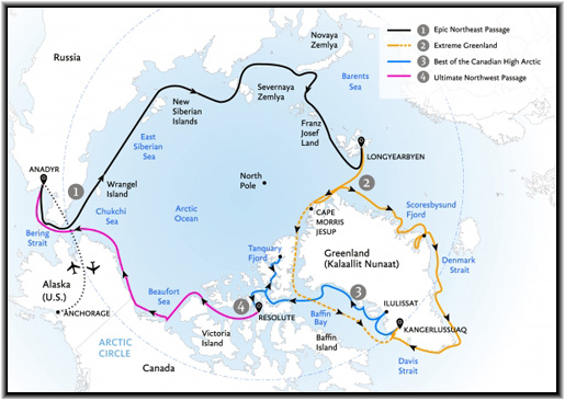 Quark Expeditions' passengers will be the first travelers in the world to be able to combine four different voyages into an epic circumnavigation of the Arctic through the fabled routes of he Northwest and Northeast Passages, Greenland, and the Canadian High Arctic