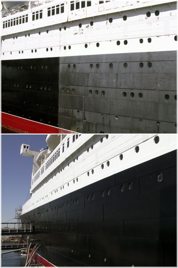 Queen Mary: a fresh coat of paint for the first time in decades (Courtesy Shawn J Dake) (Click to enlarge)