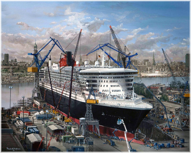 Robert Lloyd was responsible for the most recent portrait of Queen Mary 2, showing her undergoing her 25-day refit at Blohm & Voss