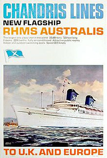 RHMS Australis ran between Southampton, Med ports and Australia. The Chandris X today identifies Celebrity Cruises