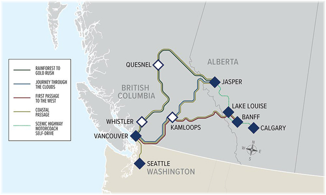 Rocky Mountaineer: the route map