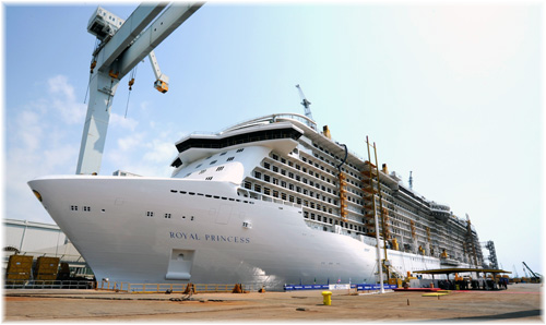 The Royal Princess, the flagship of the Princess Cruises fleet  was launched on Thursday, 16 August 2012, at Fincantieri's Monfalcone shipyard