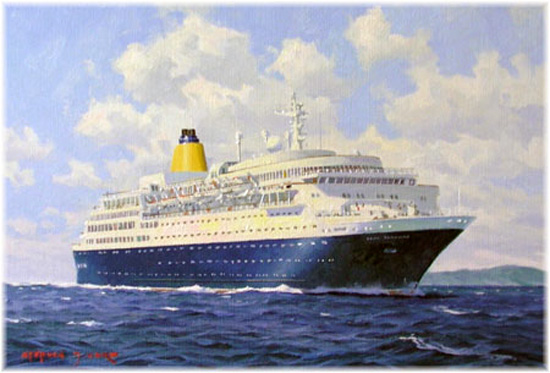 Saga Sapphire, painted by maritime artist Stephen Card, may yet appear in the original Saga livery