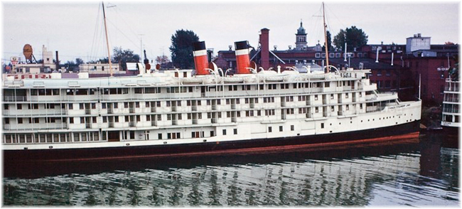 The 416-berth Richelieu at Sorel. She featured fifty verandah cabins in her passenger accommodation (Click to enlarge)