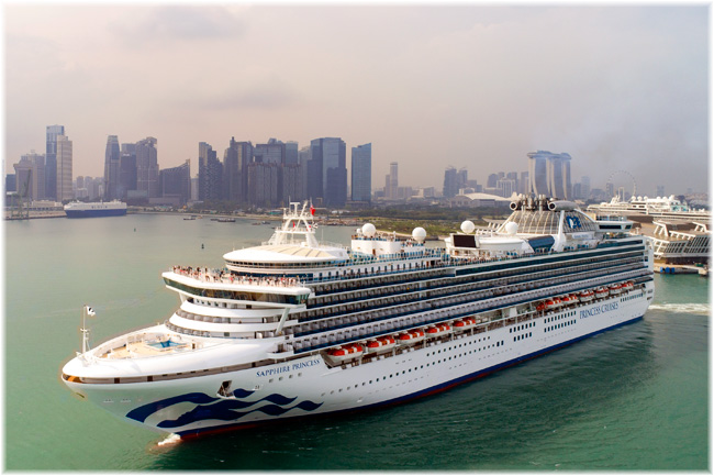 The Sapphire Princess in this image at Singapore