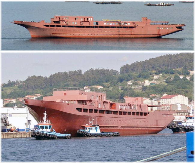 The incomplete Sea Cloud Hussar: above as she appeared on 26th May 2018 in Vigo Bay. Below after launching in May 2015 (Photo credit Victor H. Lorenzo at Marinetraffic.com)