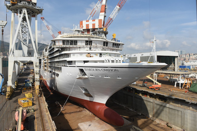 Seabourn Ovation launched on Friday at Fincantieri's shipyard in Sestri (Courtesy of Fincantieri)