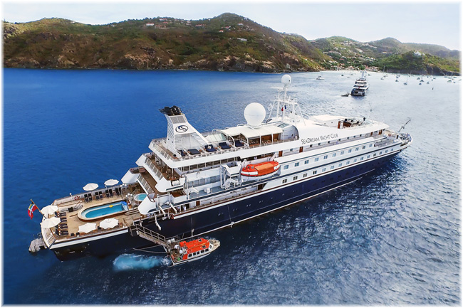 Seadream II in this image out of St.Barts